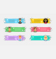 flat linear promotion ribbons with avatars and vector image vector image
