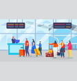 flight registration queue at airport vector image vector image