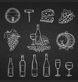 hand drawn icons wine vector image vector image