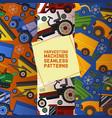 harvesting machines set seamless patterns vector image vector image