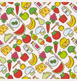 healthy food seamless pattern with thin line icons vector image