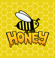 honey sign with a bee vector image