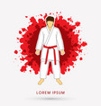 karate suit with red martial arts belts vector image