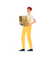 loader in overalls holding two brown boxes cartoon vector image vector image