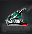 logo template with dragon head vector image vector image