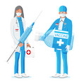 medical personal with vaccine vector image
