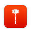 mobile phone on a selfie stick icon digital red vector image vector image