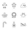 New year icons set outline style vector image vector image