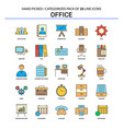 office flat line icon set - business concept vector image vector image