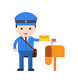 postman and post box set profession character of vector image