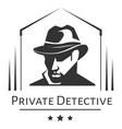 private detective logo of man in hat for vector image vector image