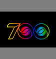 rainbow color colored colorful number 700 logo vector image vector image