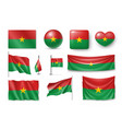 set burkina faco flags banners banners symbols vector image