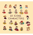 Set colors people icons characters vector image vector image