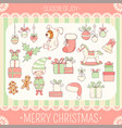 set of cute christmas party icons in retro style vector image vector image