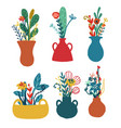 set vases with floral bouquets vector image vector image