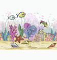 sketch deepwater living organisms fish and vector image vector image