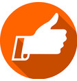 thumb up on a colored circle vector image vector image