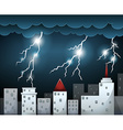 Thunderstorm and dark clouds over city vector image
