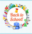 time to back to school objects round composition vector image vector image