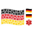 waving germany flag pattern of life star items vector image