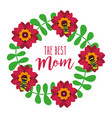 wreath floral bees leaves decoration the best mom vector image