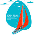 yacht club sticker with sail boat vector image vector image