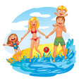 young family with two kids on vacation vector image vector image