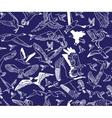 Birds night blue seamless pattern wallpaper vector image