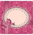 pink gift card with lace ribbons silk bow vector image