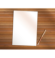 Blank sheet of paper with pen on wooden table vector image