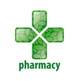 abstract green logo cross for pharmacy vector image vector image