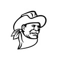 american cowboy wearing a hat mustache and vector image