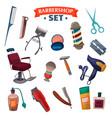 barber shop cartoon set vector image
