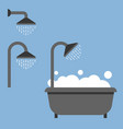 bath tub and shower icon flat style icon vector image