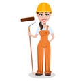 beautiful female builder in uniform vector image vector image