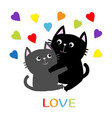black gray cat hugging couple family rainbow vector image vector image