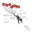 businessman flying into sky with the word freedom vector image vector image