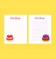 cake recipe cookbook design templates card with vector image vector image