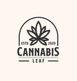 cannabis emblem lineart logo template with black vector image