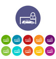 car and padlock set icons vector image vector image
