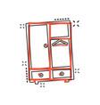 cartoon cupboard furniture icon in comic style vector image