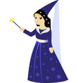 cartoon fairy sorceress with magic wand vector image