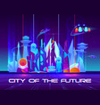 city future at night with vibrant neon lights vector image vector image