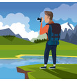 colorful landscape of hiking man taking a picture vector image vector image
