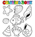 coloring book with seashells vector image