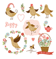 Cute birds holiday graphic elements vector image vector image