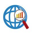 data analysis world magnifier diagram financial vector image