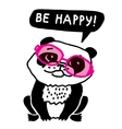 Ecology panda in pink glasses be happy vector image vector image
