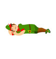 elf sleeps isolated santa claus helper asleep vector image